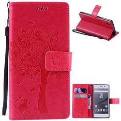 Embossing Butterfly Tree Leather Wallet Case for Sony Xperia Z5 / Z5 Dual - Rose