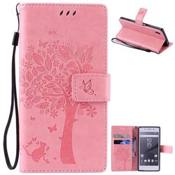 Embossing Butterfly Tree Leather Wallet Case for Sony Xperia Z5 / Z5 Dual - Pink