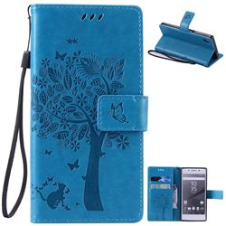 Embossing Butterfly Tree Leather Wallet Case for Sony Xperia Z5 / Z5 Dual - Blue