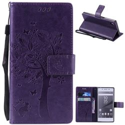 Embossing Butterfly Tree Leather Wallet Case for Sony Xperia Z5 / Z5 Dual - Purple