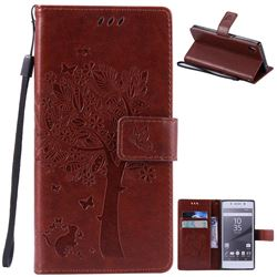 Embossing Butterfly Tree Leather Wallet Case for Sony Xperia Z5 / Z5 Dual - Brown