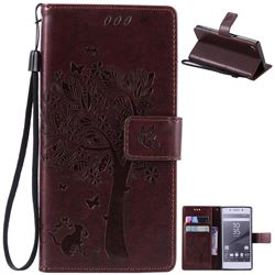Embossing Butterfly Tree Leather Wallet Case for Sony Xperia Z5 / Z5 Dual - Coffee