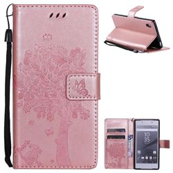 Embossing Butterfly Tree Leather Wallet Case for Sony Xperia Z5 / Z5 Dual - Rose Pink