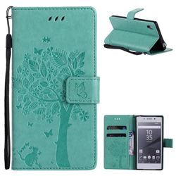 Embossing Butterfly Tree Leather Wallet Case for Sony Xperia Z5 / Z5 Dual - Cyan