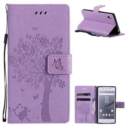 Embossing Butterfly Tree Leather Wallet Case for Sony Xperia Z5 / Z5 Dual - Violet