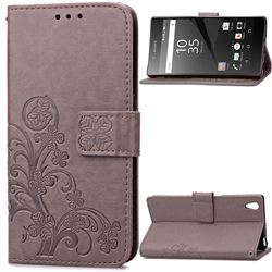 Embossing Imprint Four-Leaf Clover Leather Wallet Case for Sony Xperia Z5 / Z5 Dual - Gray
