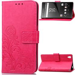 Embossing Imprint Four-Leaf Clover Leather Wallet Case for Sony Xperia Z5 / Z5 Dual - Rose