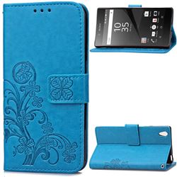 Embossing Imprint Four-Leaf Clover Leather Wallet Case for Sony Xperia Z5 / Z5 Dual - Blue