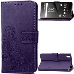 Embossing Imprint Four-Leaf Clover Leather Wallet Case for Sony Xperia Z5 / Z5 Dual - Purple