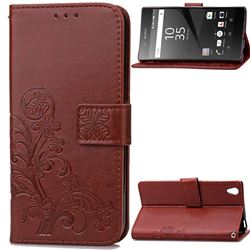 Embossing Imprint Four-Leaf Clover Leather Wallet Case for Sony Xperia Z5 / Z5 Dual - Brown