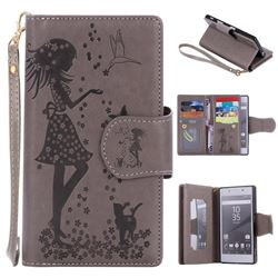 Embossing Cat Girl 9 Card Leather Wallet Case for Sony Xperia Z5 / Z5 Dual - Gray