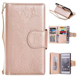 Embossing Cat Girl 9 Card Leather Wallet Case for Sony Xperia Z5 / Z5 Dual - Gold