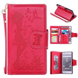 Embossing Cat Girl 9 Card Leather Wallet Case for Sony Xperia Z5 / Z5 Dual - Red