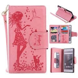 Embossing Cat Girl 9 Card Leather Wallet Case for Sony Xperia Z5 / Z5 Dual - Pink