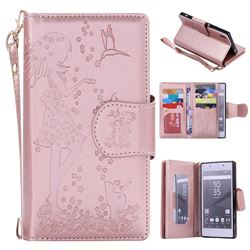 Embossing Cat Girl 9 Card Leather Wallet Case for Sony Xperia Z5 / Z5 Dual - Rose Gold