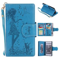 Embossing Cat Girl 9 Card Leather Wallet Case for Sony Xperia Z5 / Z5 Dual - Blue