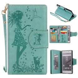 Embossing Cat Girl 9 Card Leather Wallet Case for Sony Xperia Z5 / Z5 Dual - Green