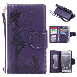 Embossing Cat Girl 9 Card Leather Wallet Case for Sony Xperia Z5 / Z5 Dual - Purple