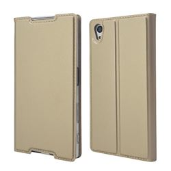 Ultra Slim Card Magnetic Automatic Suction Leather Wallet Case for Sony Xperia Z5 / Z5 Dual - Champagne