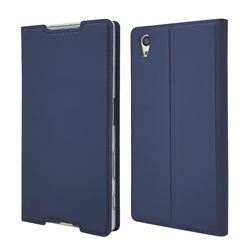 Ultra Slim Card Magnetic Automatic Suction Leather Wallet Case for Sony Xperia Z5 / Z5 Dual - Royal Blue