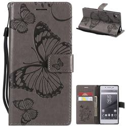 Embossing 3D Butterfly Leather Wallet Case for Sony Xperia Z5 / Z5 Dual - Gray