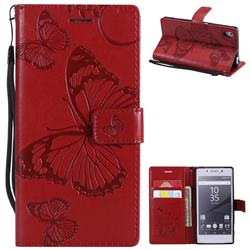 Embossing 3D Butterfly Leather Wallet Case for Sony Xperia Z5 / Z5 Dual - Red