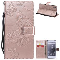 Embossing 3D Butterfly Leather Wallet Case for Sony Xperia Z5 / Z5 Dual - Rose Gold
