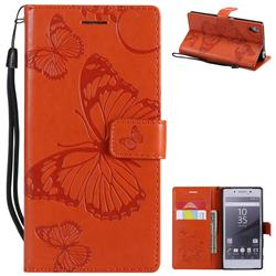 Embossing 3D Butterfly Leather Wallet Case for Sony Xperia Z5 / Z5 Dual - Orange