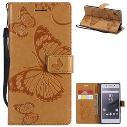 Embossing 3D Butterfly Leather Wallet Case for Sony Xperia Z5 / Z5 Dual - Yellow