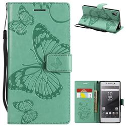 Embossing 3D Butterfly Leather Wallet Case for Sony Xperia Z5 / Z5 Dual - Green