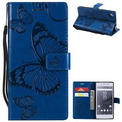 Embossing 3D Butterfly Leather Wallet Case for Sony Xperia Z5 / Z5 Dual - Blue