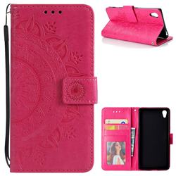 Intricate Embossing Datura Leather Wallet Case for Sony Xperia Z5 / Z5 Dual - Rose Red
