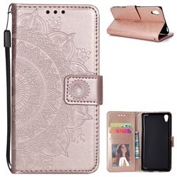 Intricate Embossing Datura Leather Wallet Case for Sony Xperia Z5 / Z5 Dual - Rose Gold