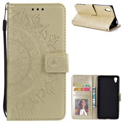 Intricate Embossing Datura Leather Wallet Case for Sony Xperia Z5 / Z5 Dual - Golden