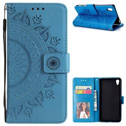 Intricate Embossing Datura Leather Wallet Case for Sony Xperia Z5 / Z5 Dual - Blue