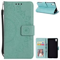 Intricate Embossing Datura Leather Wallet Case for Sony Xperia Z5 / Z5 Dual - Mint Green