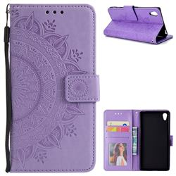 Intricate Embossing Datura Leather Wallet Case for Sony Xperia Z5 / Z5 Dual - Purple
