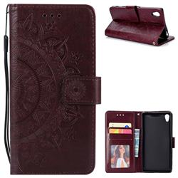 Intricate Embossing Datura Leather Wallet Case for Sony Xperia Z5 / Z5 Dual - Brown