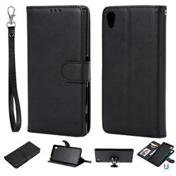 Retro Greek Detachable Magnetic PU Leather Wallet Phone Case for Sony Xperia Z5 / Z5 Dual - Black