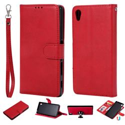 Retro Greek Detachable Magnetic PU Leather Wallet Phone Case for Sony Xperia Z5 / Z5 Dual - Red