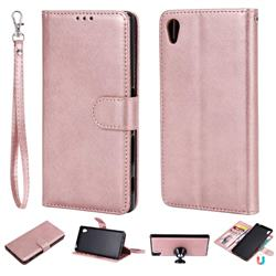 Retro Greek Detachable Magnetic PU Leather Wallet Phone Case for Sony Xperia Z5 / Z5 Dual - Rose Gold