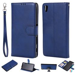 Retro Greek Detachable Magnetic PU Leather Wallet Phone Case for Sony Xperia Z5 / Z5 Dual - Blue