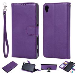 Retro Greek Detachable Magnetic PU Leather Wallet Phone Case for Sony Xperia Z5 / Z5 Dual - Purple