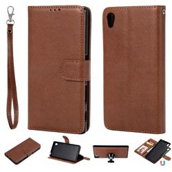 Retro Greek Detachable Magnetic PU Leather Wallet Phone Case for Sony Xperia Z5 / Z5 Dual - Brown