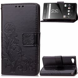 Embossing Imprint Four-Leaf Clover Leather Wallet Case for Sony Xperia Z5 Compact / Z5 Mini - Black