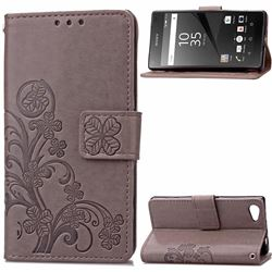 Embossing Imprint Four-Leaf Clover Leather Wallet Case for Sony Xperia Z5 Compact / Z5 Mini - Gray