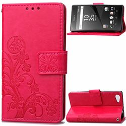 Embossing Imprint Four-Leaf Clover Leather Wallet Case for Sony Xperia Z5 Compact / Z5 Mini - Rose