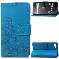 Embossing Imprint Four-Leaf Clover Leather Wallet Case for Sony Xperia Z5 Compact / Z5 Mini - Blue