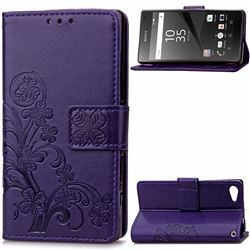 Embossing Imprint Four-Leaf Clover Leather Wallet Case for Sony Xperia Z5 Compact / Z5 Mini - Purple