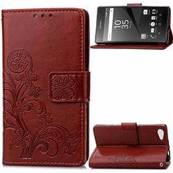 Embossing Imprint Four-Leaf Clover Leather Wallet Case for Sony Xperia Z5 Compact / Z5 Mini - Brown